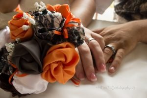 wedding bouquet in camouflage