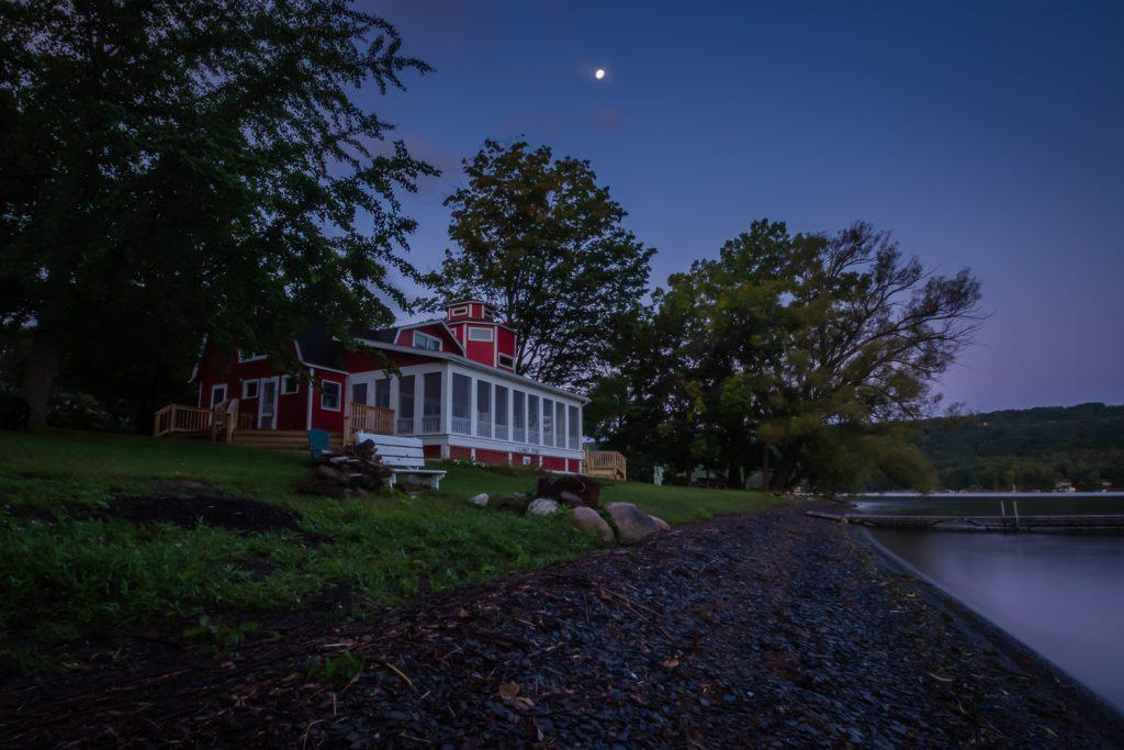 Full moon over Art studio on Keuka Lake
