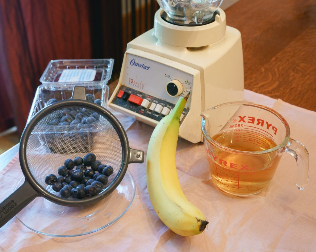 Ingredients for blueberry banana dog coolers