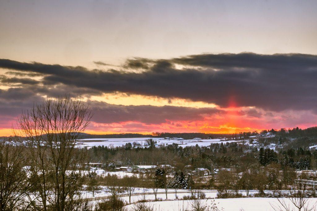 Sun Dog in a winter landscape